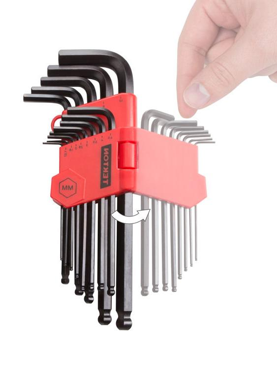TEKTON 26 Piece Long Arm Ball End Hex Key Wrench Set Inch Metric Allen Hand Tool