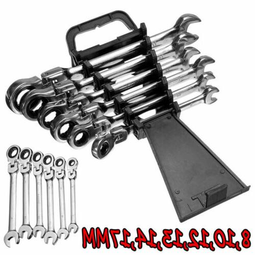6pcs flexible metric ratcheting combination wrench set