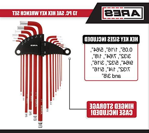 ARES 70164 13-Piece SAE Long End Hex Key Wrench Set with Anti-Slip Storage