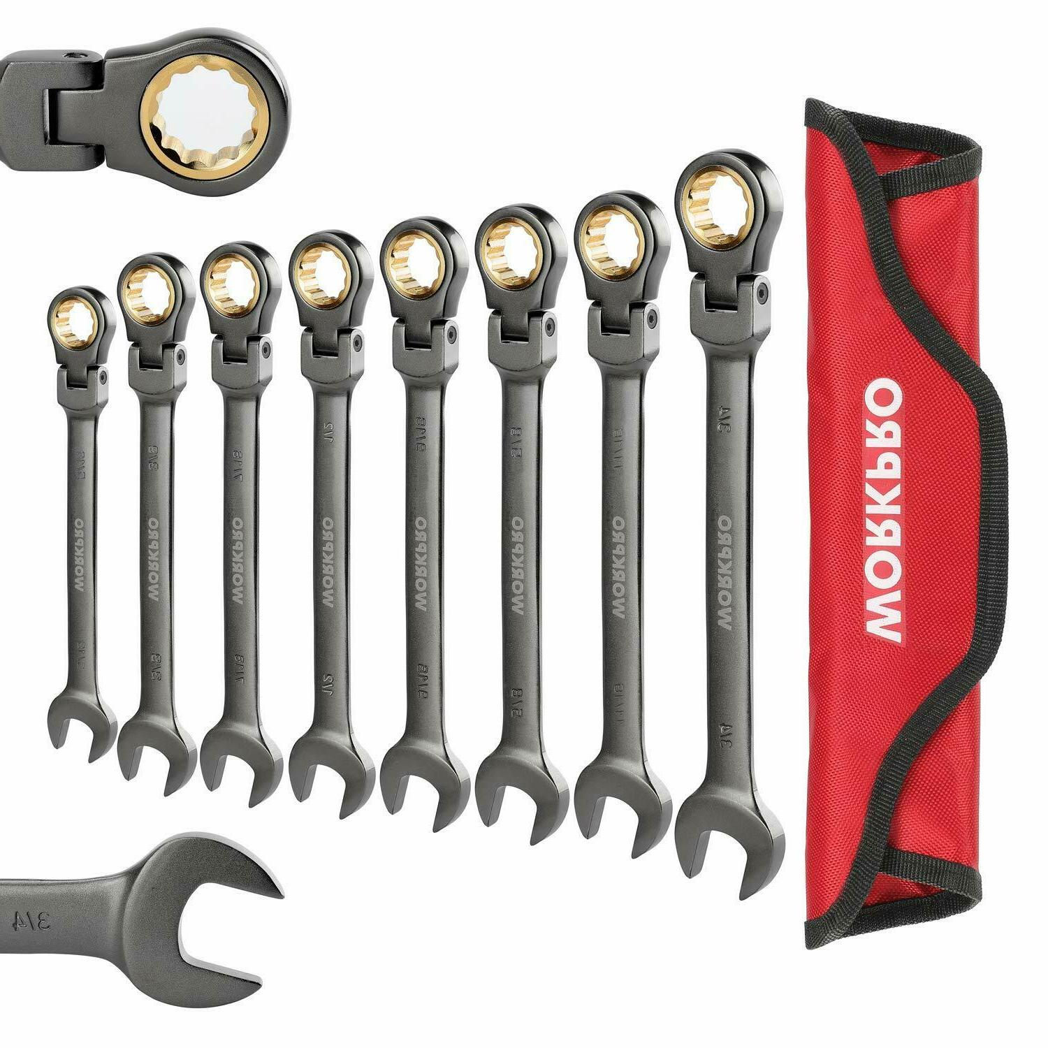 8 piece flex head ratcheting combination wrench