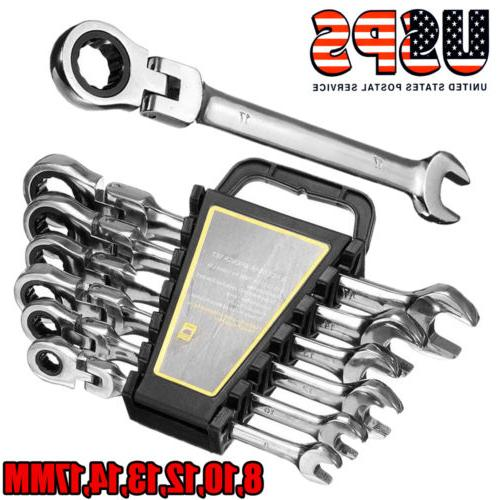 6Pcs 8-17mm Flexible Rotation Open End Ratcheting Wrench Set