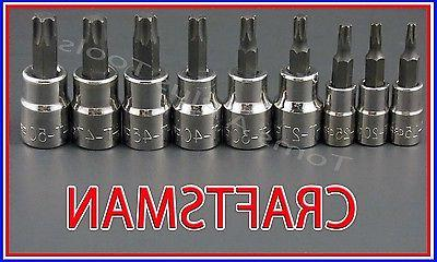CRAFTSMAN HAND TOOLS 9pc LOT 1/4 3/8 Torx / Star bit ratchet