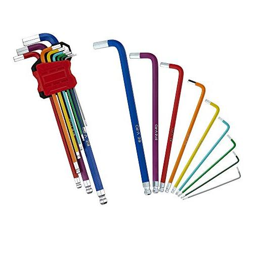 Lichamp 18-Piece Hex Key Set, Long Arm End Folding Wrench Tool End, L-Wrench Turning Holders