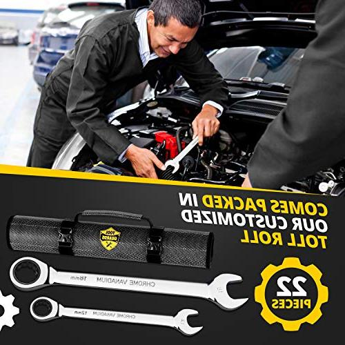 {22 Pieces + Ratcheting Wrench Ratchet Wrenches - Steel With Tool Roll - & Combination Standard - & Inch Large Organizer