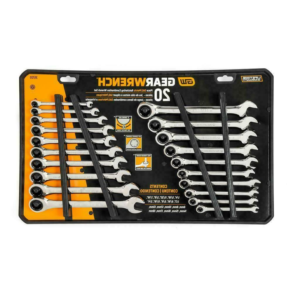 GEARWRENCH Ratcheting Wrench Set 20 SAE/Metric -