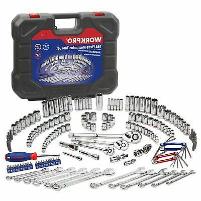 WORKPRO Socket Wrench 164-piece Mechanics 1/4 Inch, and Inch Quick Ratchet, Metric and Standard 6-Point Sockets, Molded Case