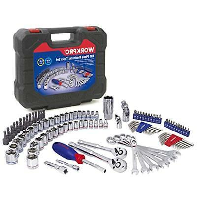 with Blow Molded Case 6-Point SAE and Metric Sockets 101-piece Mechanics Tools Kit 3//8-inch and 1//4-inch Quick-Release Ratchets WORKPRO Drive Socket Wrench Set