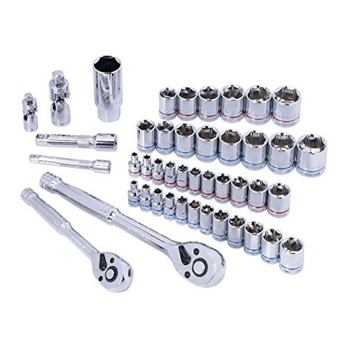 WORKPRO Socket Wrench Set, Kit and Quick-Release Ratchets, and Metric Sockets, Blow Molded Case