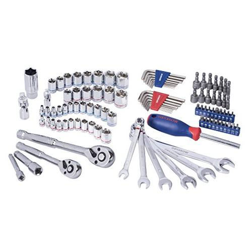 WORKPRO Set, Mechanics Kit 3/8-inch 1/4-inch Quick-Release Ratchets, 6-Point SAE and Blow Molded Case