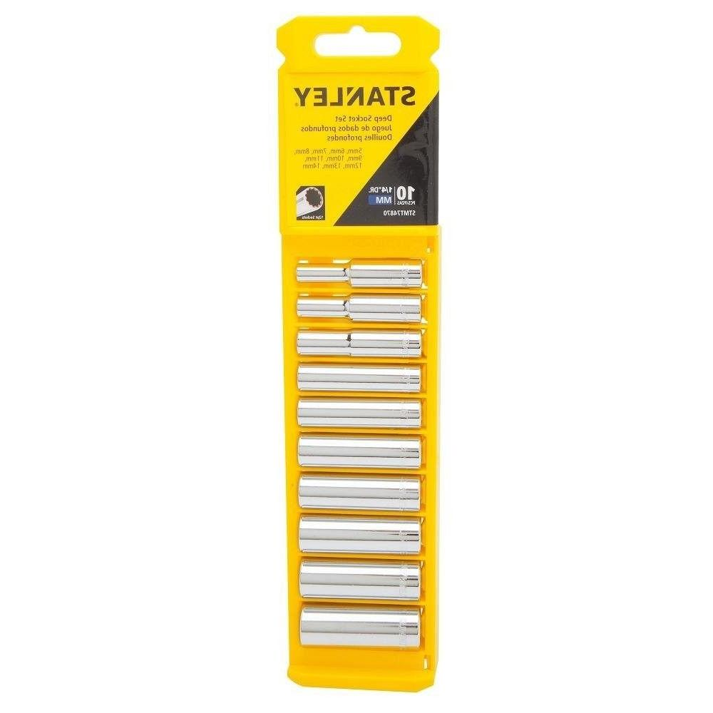 "Stanley STMT74870 1/4"" Deep Socket Set, 10 Piece"