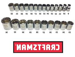 "Craftsman Laser Etched Easy Read 24 Piece Metric MM 1/2"" Dri"