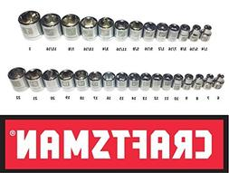 Craftsman Laser Etched Easy Read 30 Piece SAE Standard /& Metric 3//8 Drive 6 Point Shallow Socket Set