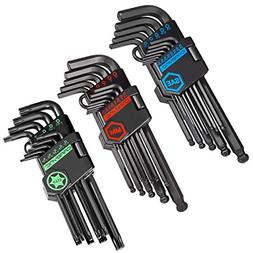 CARBYNE 35 Piece Long Arm Ball End Hex Key Wrench Set, Inch/