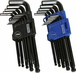 EPAuto Long Arm Ball End Hex Key Allen Wrench Set, Inch/Metr