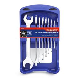 WORKPRO 8-Piece Metric Cr-V Double Open End Wrench Set with