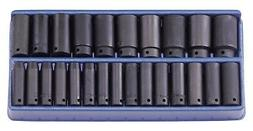 "Genius Tools 25PC 1/2"" Dr. Metric Deep Impact Socket Set - T"