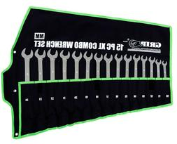 GRIP 16pc METRIC Extra Long Combination 12pt Wrenches V Cut