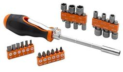 Multi Angle Screw Driver - 26 Piece Ratchet Driver, Bit And
