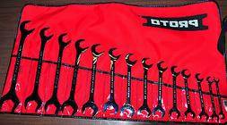 Proto Tool 14 Piece Full Polish Angle Open-End Wrench Set J3