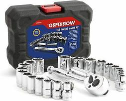 "WORKPRO 24-piece 3/8"" Ratchet and Drive Sockets Set with Blo"