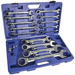 LARGE Ratchet Spanner Set 8mm to 32mm by BERGEN AT638