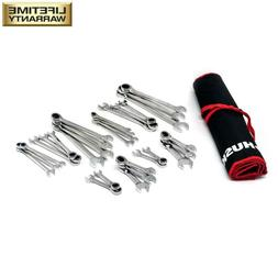 HUSKY Ratcheting Slim Design Wrench Set SAE/MM with Stubby A