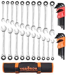 HORUSDY 20-Piece Ratcheting Wrench Set, SAE and Metric Ratch