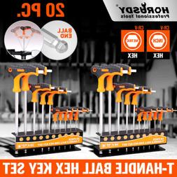 SAE & Metric T Handle Allen Wrench Ball End Hex Key Set w/St