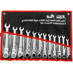 12 Pc Duo Sae and Metric Flex Head Flexible End Ratchet Ratc