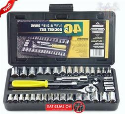 "Standard SAE & Metric 40 Piece Socket 1/4'' & 3/8"" Drive Rat"