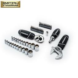 Husky Stubby Wrench and Ratchet Set with Extendable Ratchet