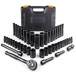 TACKLIFE 46pcs 3/8'' Black Chrome Drive Socket Set,72-Teet