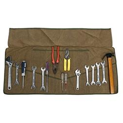 12 OZ Waxed Canvas Wrench Roll Up Organizer Tool Bag with 25