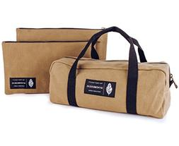 Waxed Canvas Zipper Tool Utility Bag and Pouch Set | Heavy D